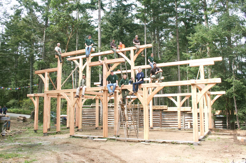 Island school of building arts courses timber post and for Post beam construction