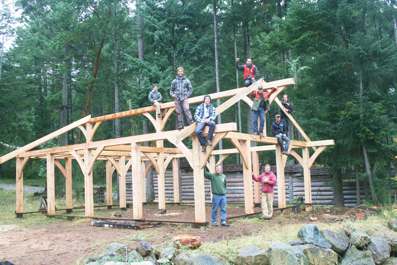 Island school of building arts courses timber post and for Post and beam construction